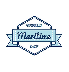 World maritime day greeting emblem vector