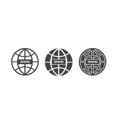 www icon website icon host server icons in globe vector image