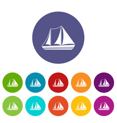 yacht set icons vector image