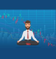 young man trader meditating under falling crypto vector image
