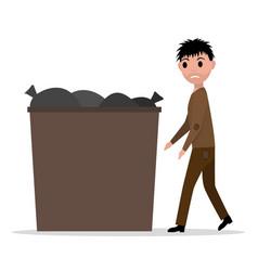 cartoon hobo beggar jobless man dumpster vector image