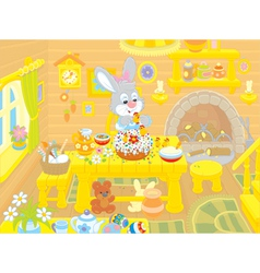 Easter bunny cooks a holiday cake vector image vector image