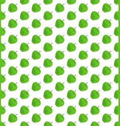 flat green apple pattern on isolated white vector image vector image