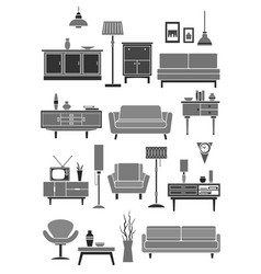 home furniture and interior items vector image vector image
