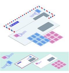 isometric postal envelopes mail envelope vector image