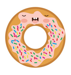 kawaii donut with cream and colours sparks in vector image vector image
