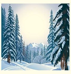Winter forest landscape vector