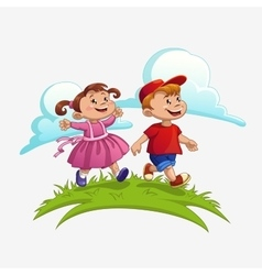 Children run vector image