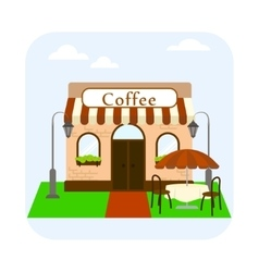 Coffee shop building facade with table and chairs vector image