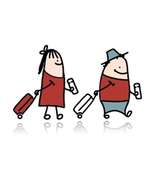 Couple with suitcases and tickets cartoon vector image vector image