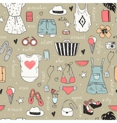 Fashion set of woman clothes vector image