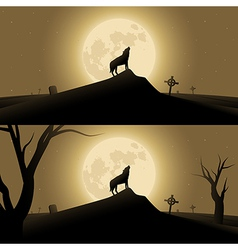 Halloween background with werewolf vector image vector image
