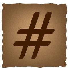 Hashtag sign Vintage effect vector image