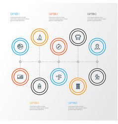 journey outline icons set collection of traveler vector image