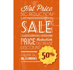 retro sale background orange vector image vector image