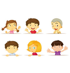 six kids with happy face vector image vector image