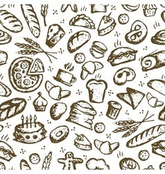 Bakery seamless pattern sketch background for vector image vector image