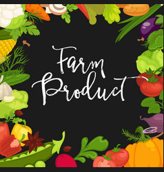 farm product promotional poster with fresh organic vector image