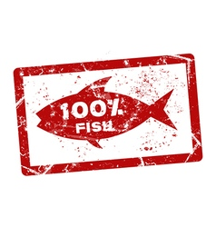 fish grunge stamp vector image vector image