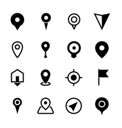 Map location icons set of 16 pointers symbols vector image vector image