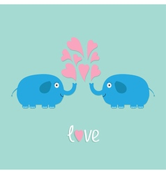 Two elephant with heart fountan love flat vector image vector image