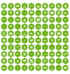 100 mens team icons hexagon green vector
