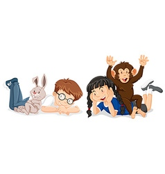 Kids with rabbit and monkey vector image