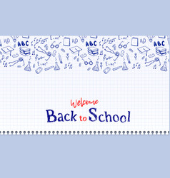 Seamless border with school elements back to vector