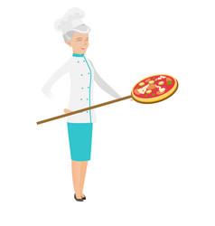 Senior caucasian chef preparing pizza vector