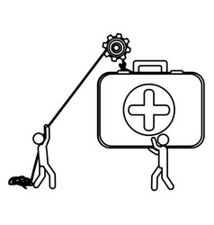 Silhouette workers with pulley holding first aid vector