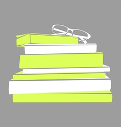 stack of books and glasses vector image vector image