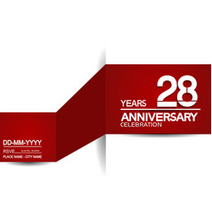 28 years anniversary design with red and white vector