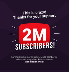 2m subscribers celebration background design 2 vector