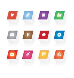 3d button icons vector