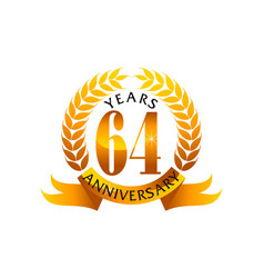 64 years ribbon anniversary vector