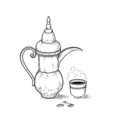 Arabic vintage coffeepot and cup with a hot drink vector