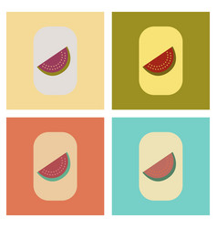 Assembly flat icons poker slice of watermelon vector