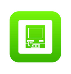 atm bank cash machine icon digital green vector image