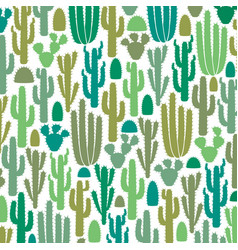 background pattern with group of cactus icons vector image
