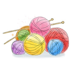 Ball of wool doodle watercolor vector
