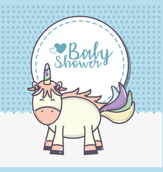 Bashower cute unicorn sticker blue background vector