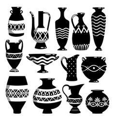 Black and white ceramic bowls vector