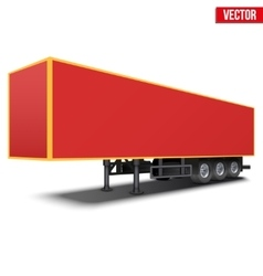 Blank red parked semi trailer vector