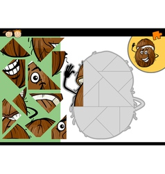 cartoon coconut jigsaw puzzle game vector image