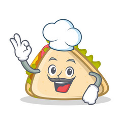 Chef sandwich character cartoon style vector
