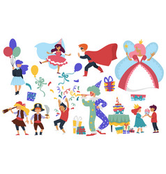 Child birthday costume party clown and cake kids vector