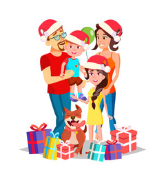 christmas family portrait parents vector image