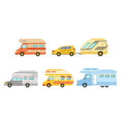 collection camper trailers set trailering vector image