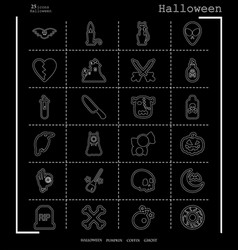 collection of 24 halloween icons in thin line vector image