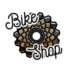 Color vintage bike shop emblem vector